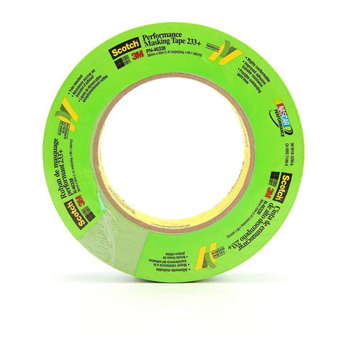 3M Scotch 46338 36 mm x 55 m 233+ Crepe Paper Masking Tape, 250 Degree F Performance Temperature