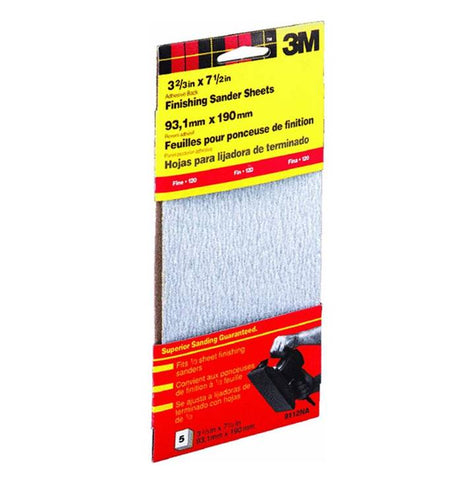 3M 9112DC-NA Adhesive Backed Finishing Sandpaper,  3.66 X 7.5 Inch, 5/Pack, 120 Fine Grit