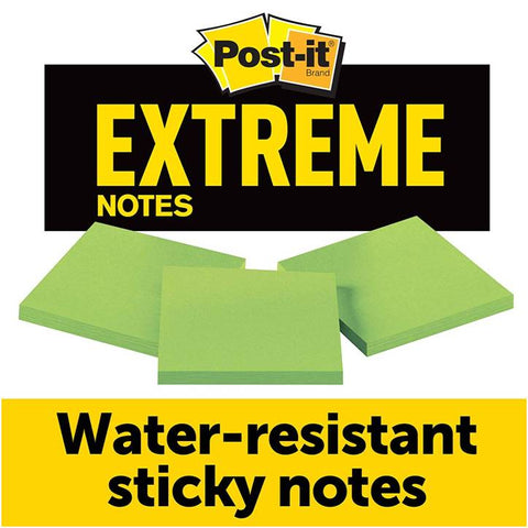 3M EXTRM33-3TRYGN Post-it Extreme Notes, Green, 3 IN x 3 IN, 3 Pads/Pack, 45 Sheets/Pad