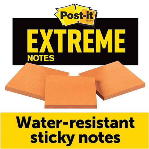 3M EXTRM33-3TRYOG Post-it Extreme Notes, Orange, 3 IN x 3 IN, 3 Pads/Pack, 45 Sheets/Pad