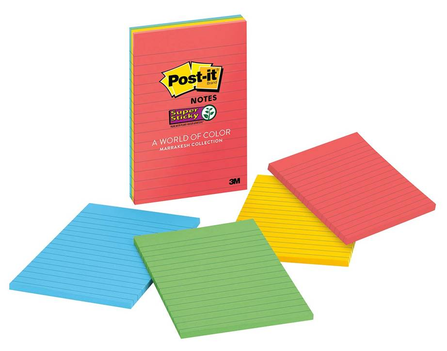 3M Post-it Super Sticky Notes, 2X Sticking Power, 4 in x 6 in, 4 Pads per Pack, 45 Sheets