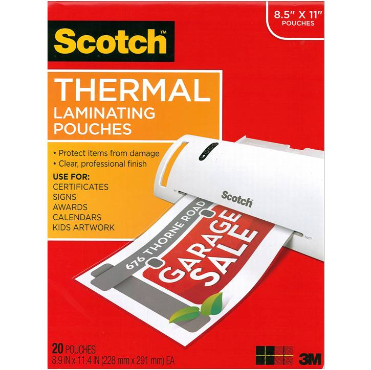 "3M TP3854-20 Scotch Thermal Laminating Pouches, 3 mil, 8.5"" x 11"", 20-Pack, Gloss Clear"
