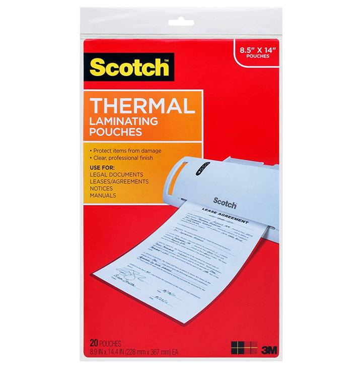 "3M TP3855-20 Scotch Thermal Laminating Pouches, 3 mil, 8.5"" x 14"", 20-Pack, Gloss Clear"