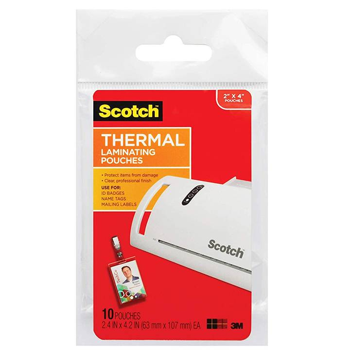 "3M TP5852-10 Scotch Thermal Laminating Pouches, 5 mil, 2"" x 4"", 10-Pack, Gloss Clear"