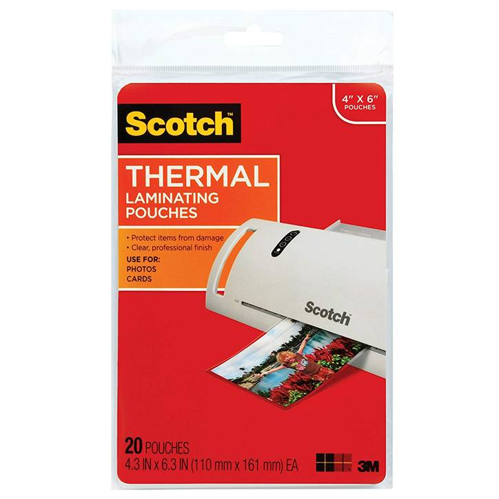 "3M TP5900-20 Scotch Thermal Laminating Pouches, 5 mil, 4"" x 6"", 20-Pack, Gloss Clear"