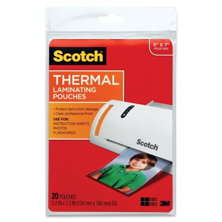 "3M TP5903-20 Scotch Thermal Laminating Pouches, 5 mil, 5"" x 7"", 20-Pack, Gloss Clear"