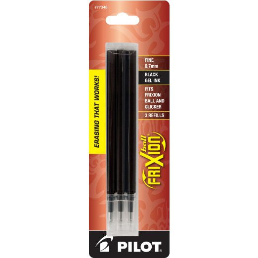 Pilot FriXion Gel Ink Pen Refill, 3-Pack Pouch for Erasable Pens, Fine Point, Black Ink (77348)