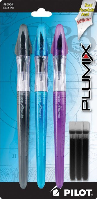 Pilot Plumix Refillable Fountain Pens, Assorted Color Barrels, Blue Ink, Medium Point, 3-Pack with 3 Ink Cartridges (90054)