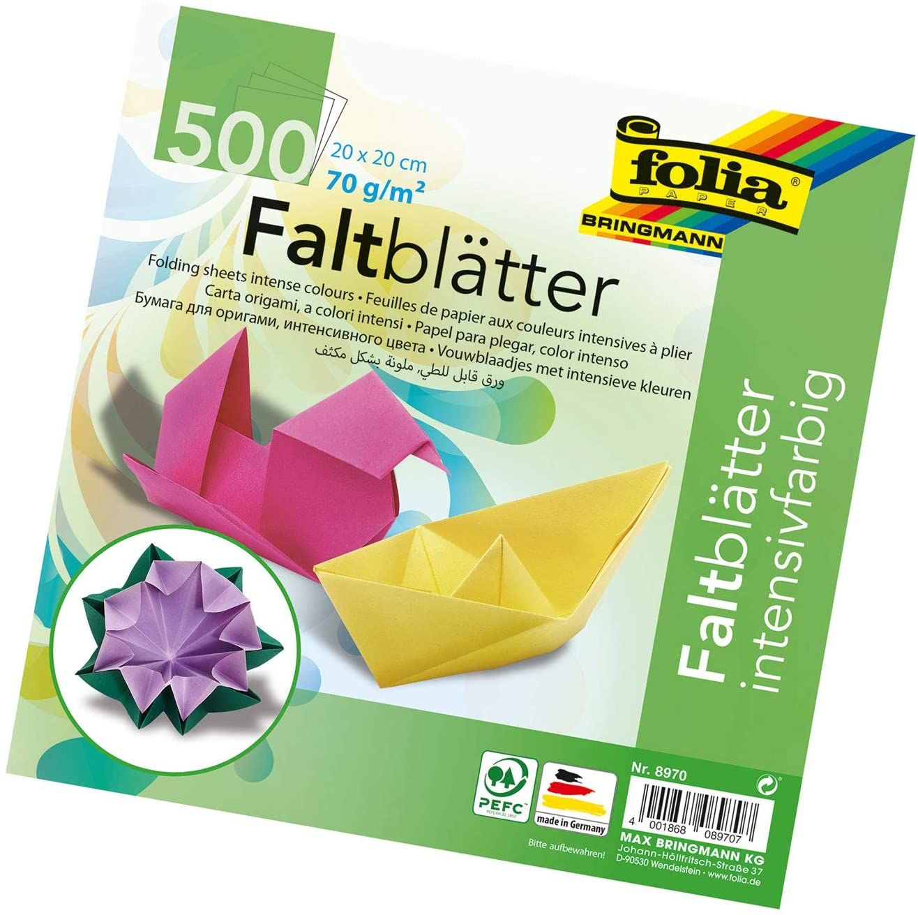 Speedball Folia 8970 Square Colored 8-by-8-Inch Origami Paper, 500 Sheets