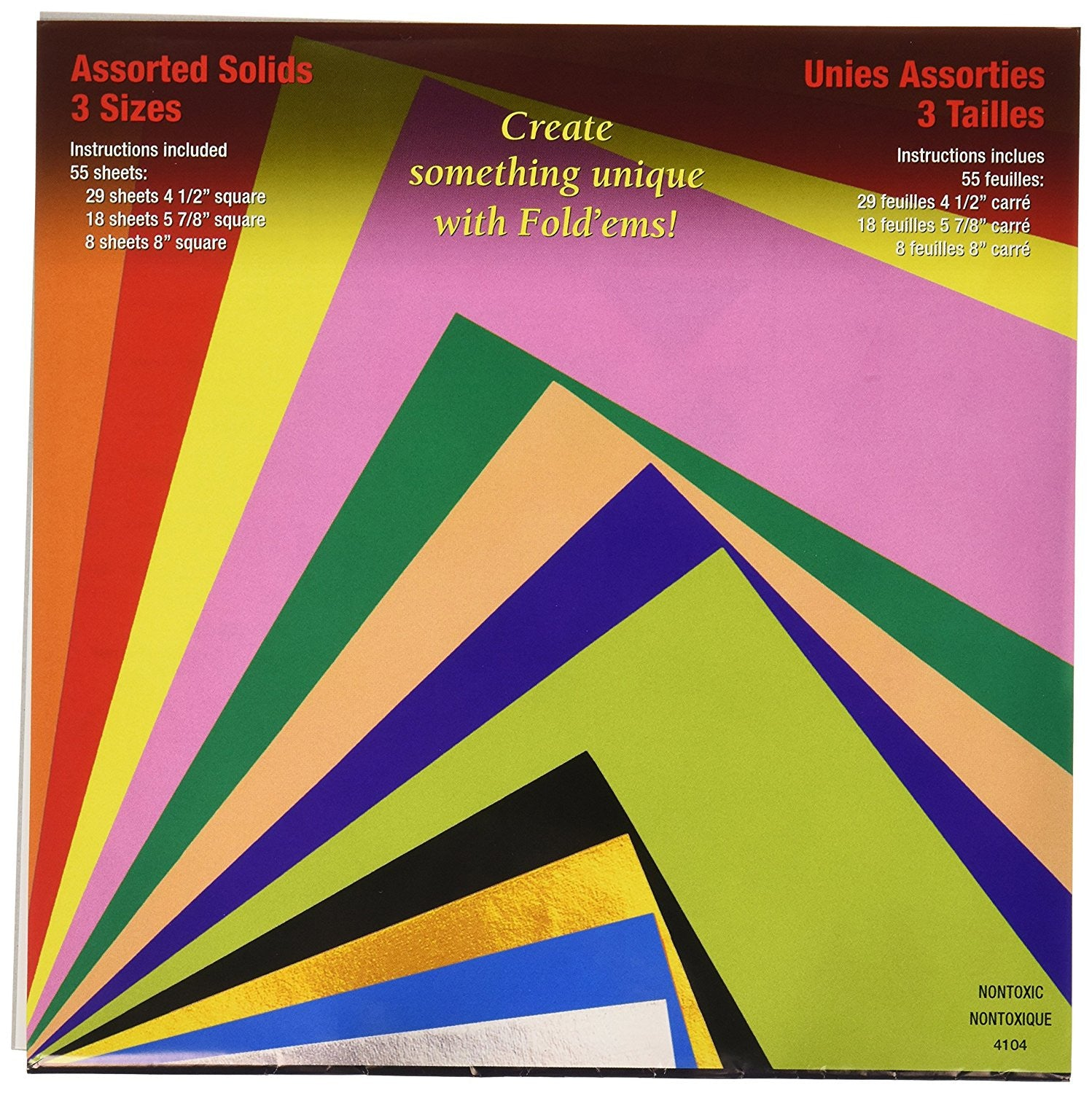 Yasutomo Fold'Ems Solid Square Origami Paper, Assorted Sizes and Colors, 55 Sheets/Pack