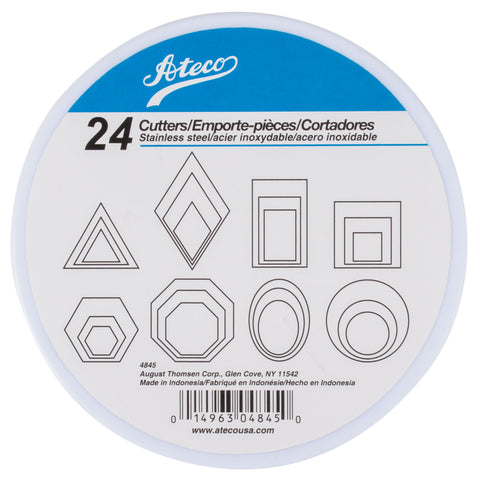 Ateco 4845 Geometric Shape Cutter, Set of 24