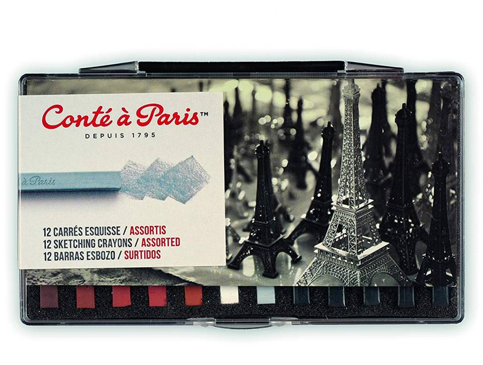 Conté à Paris 50150 Sketching Crayons Set with 12 Assorted Colors