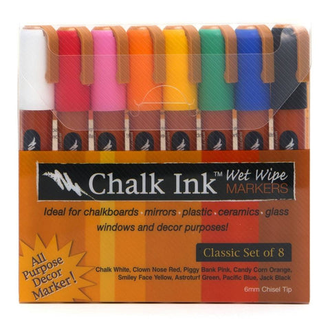 Chalk Ink 6mm Fine Tip Classic Wet Wipe Markers, 8-Pack