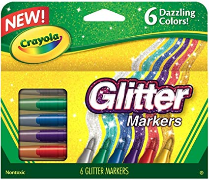 Crayola 58-8629 Glitter Markers, 6 Count