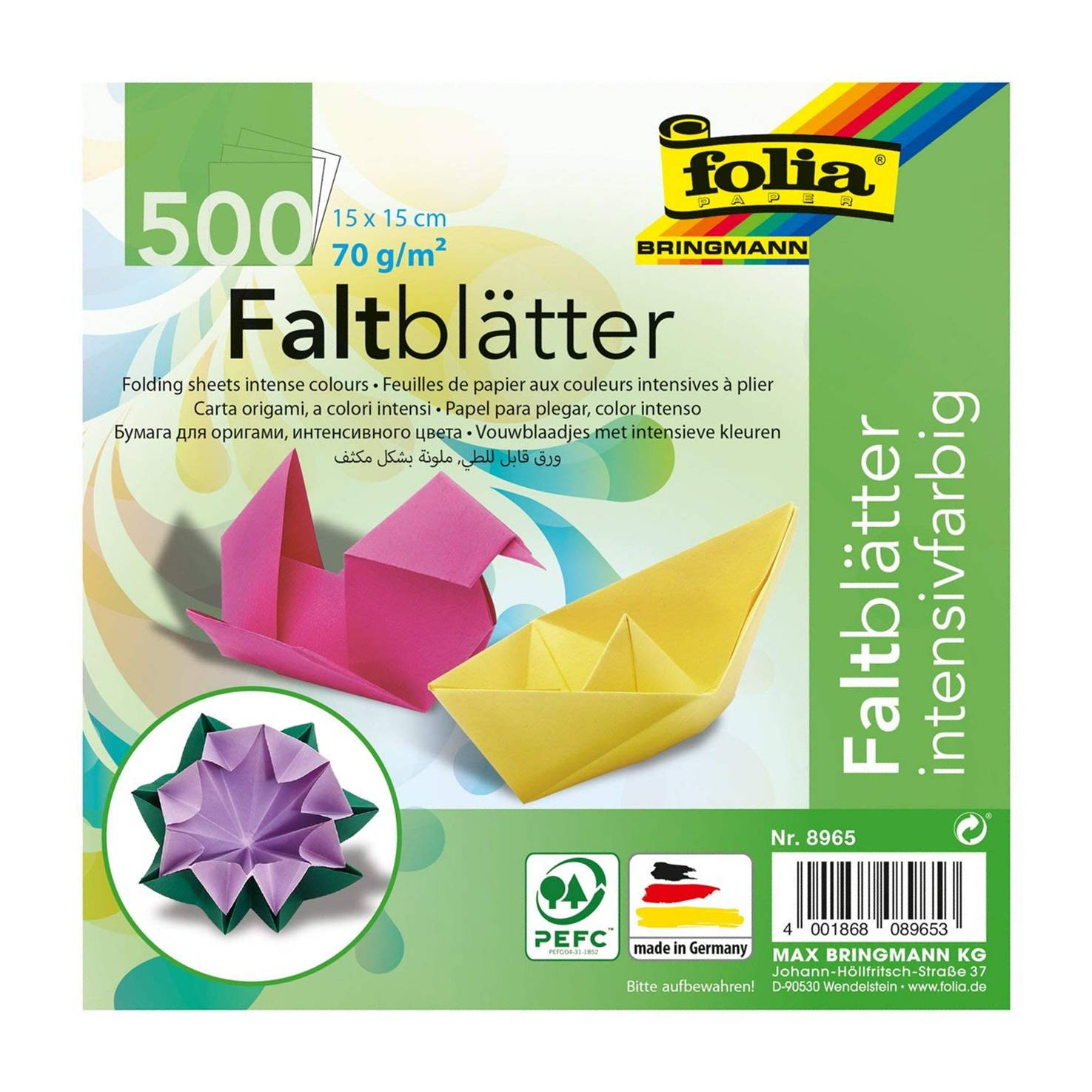 Global Art 8965 Folia 6-Inch by 6-Inch Origami Paper, 10 Colors, 500-Pack