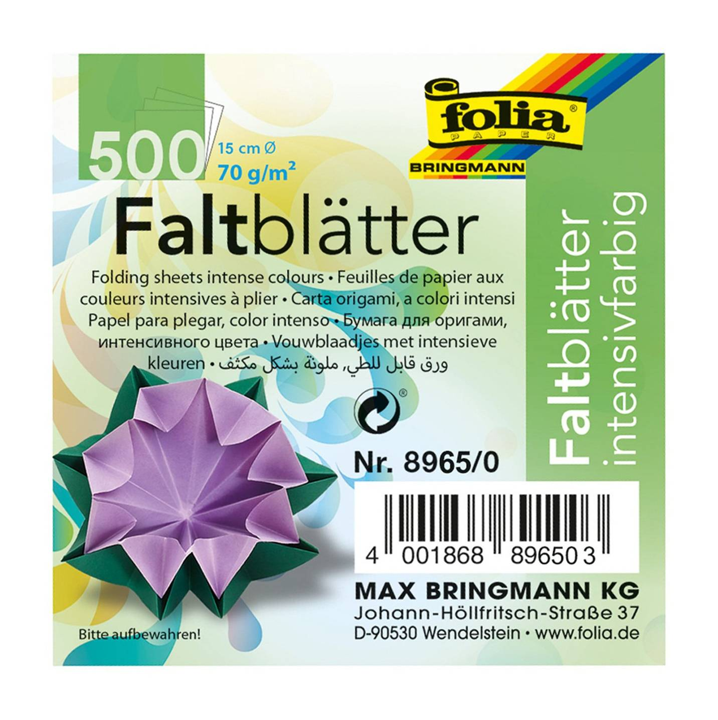 Global Art 8965/0 Folia 6-Inch Circle Origami Paper, 500-Pack