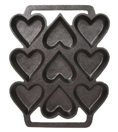 LuPro LPKT-C1312 Cast Iron Heart Shaped Cake Pan, 9 x 7.5 Inch