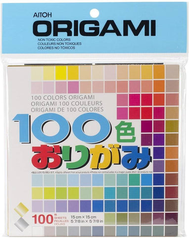 Aitoh M100C Origami Paper, 5.875 by 5.875-Inch, 100 Colors, 6 Packs, 100 Sheets Per Pack