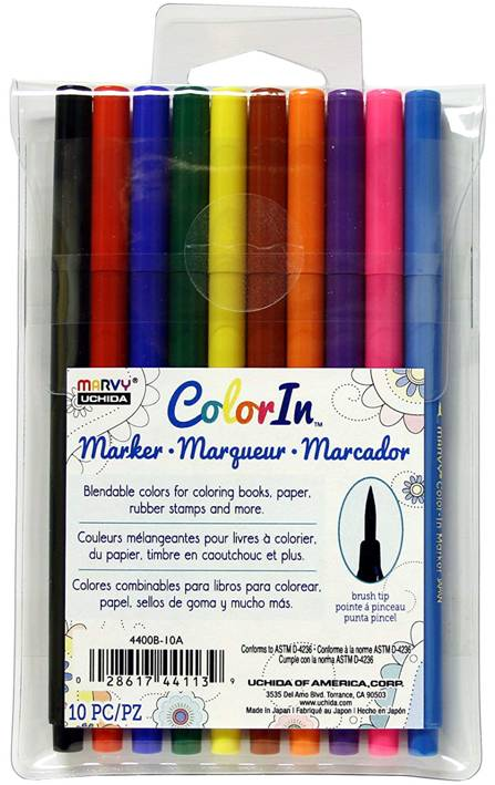 Marvy Uchida ColorIn 4400B-10A 10 Piece Brush Tip Marker Set, Primary Colors