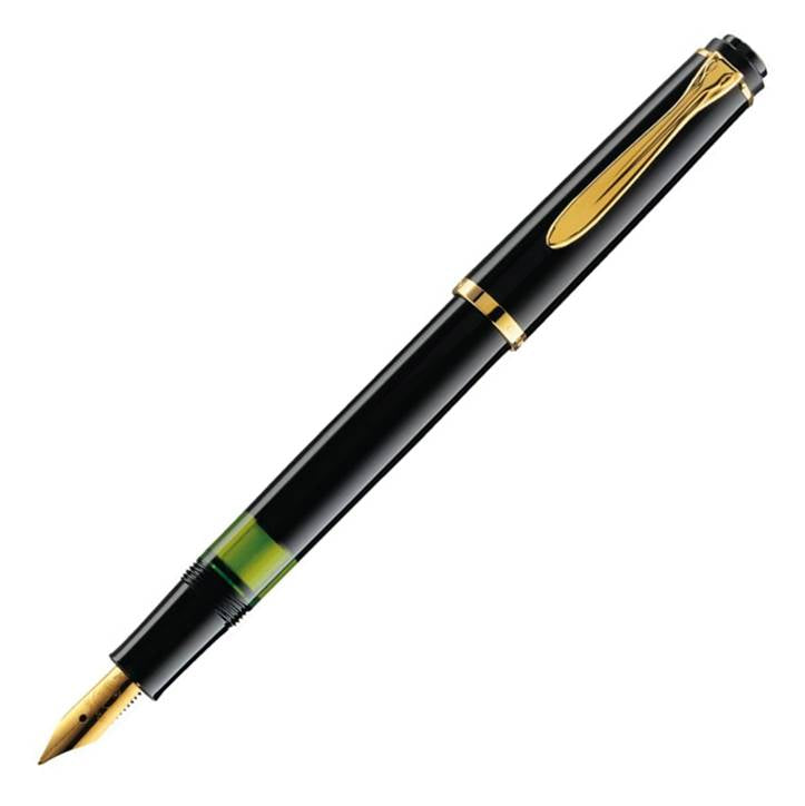 Pelikan 993543 Tradition M150 Black Fountain Pen, Medium Nib
