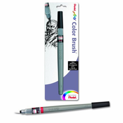 Pentel Arts Color Brush with Pigment Ink, Medium Tip, Black Ink (FP5MBPA)