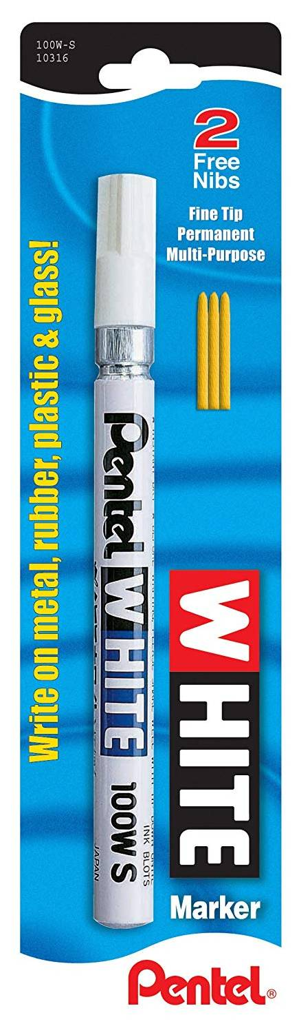 Pentel 100W-S Permanent Marker, White, Fine Point, 1 Pack