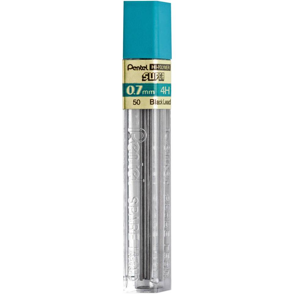 Pentel 50-4H, 50-3H, 50-2H, 50-H, 50-HB, 50-F, 50-B, 50-2B Super Hi-Polymer Lead Refills, 0.7mm Medium Line, 12 pcs per Tube, Box of 12 Tubes