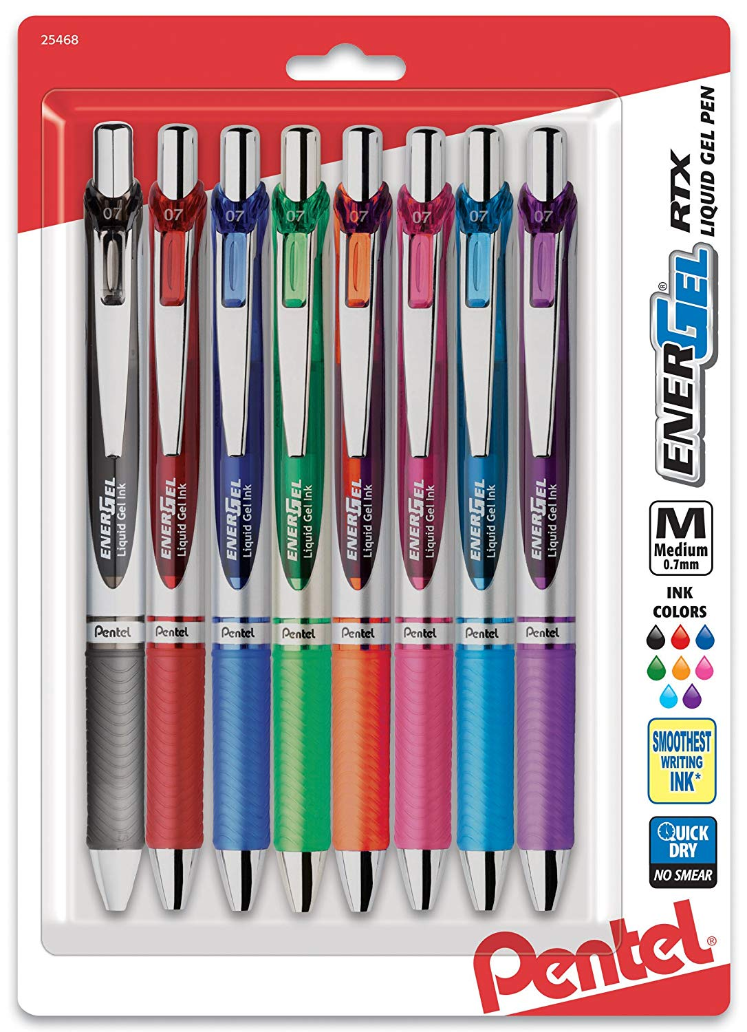 Pentel BL77BP8M, BL77BP8M1, BL77BP8M2 EnerGel RTX Retractable Liquid Gel Pens, 0.7mm Medium Metal Tip, Assorted Ink, 8-Pack