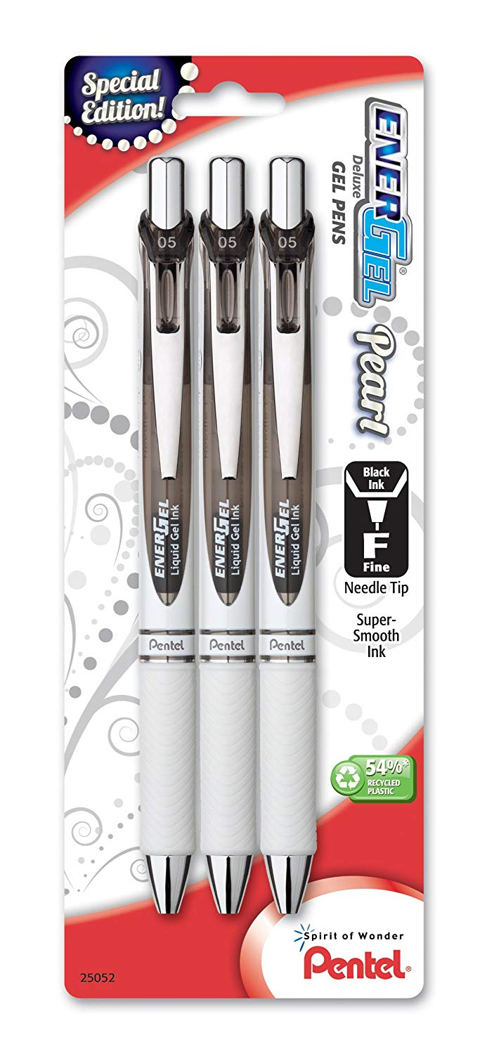 Pentel BLN75WBP3A, BLN75WBP3C EnerGel Pearl Deluxe Retractable Liquid Gel Pens, Needle Tip, 0.5mm Fine Line, Black Ink 3-Pack