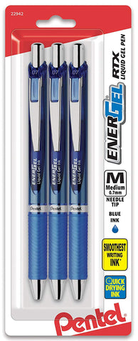 Pentel BLN77BP3A, BLN77BP3C, BLN77BP3V EnerGel RTX Retractable Liquid Gel Pens, 0.7mm, Needle Tip, 3-Pack
