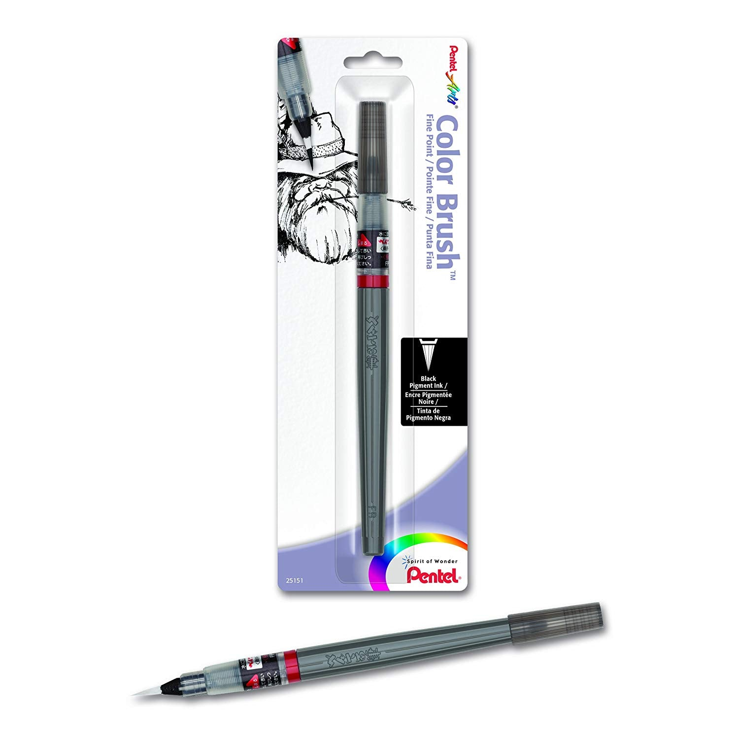 Pentel FP5FBPA, FP5MBPA Arts Color Brush with Pigment Ink, Black Ink