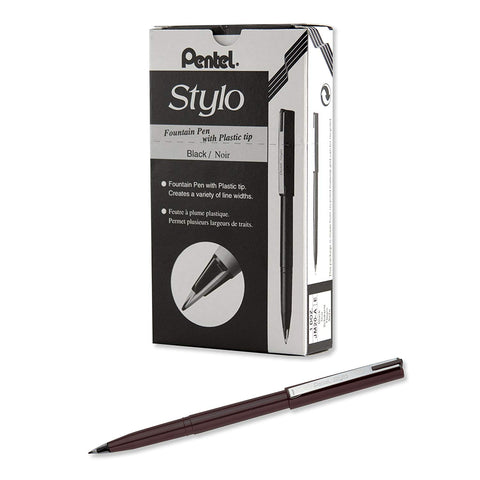 Pentel JM20-AE Arts Stylo Sketch Pens, Black Ink, Dozen Box