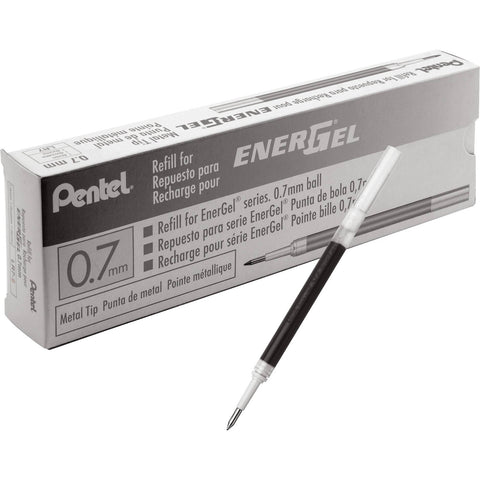 Pentel LR7 Gel Ink Refills, Metal Tip, 0.7mm Medium Lines, Box of 12 Refills