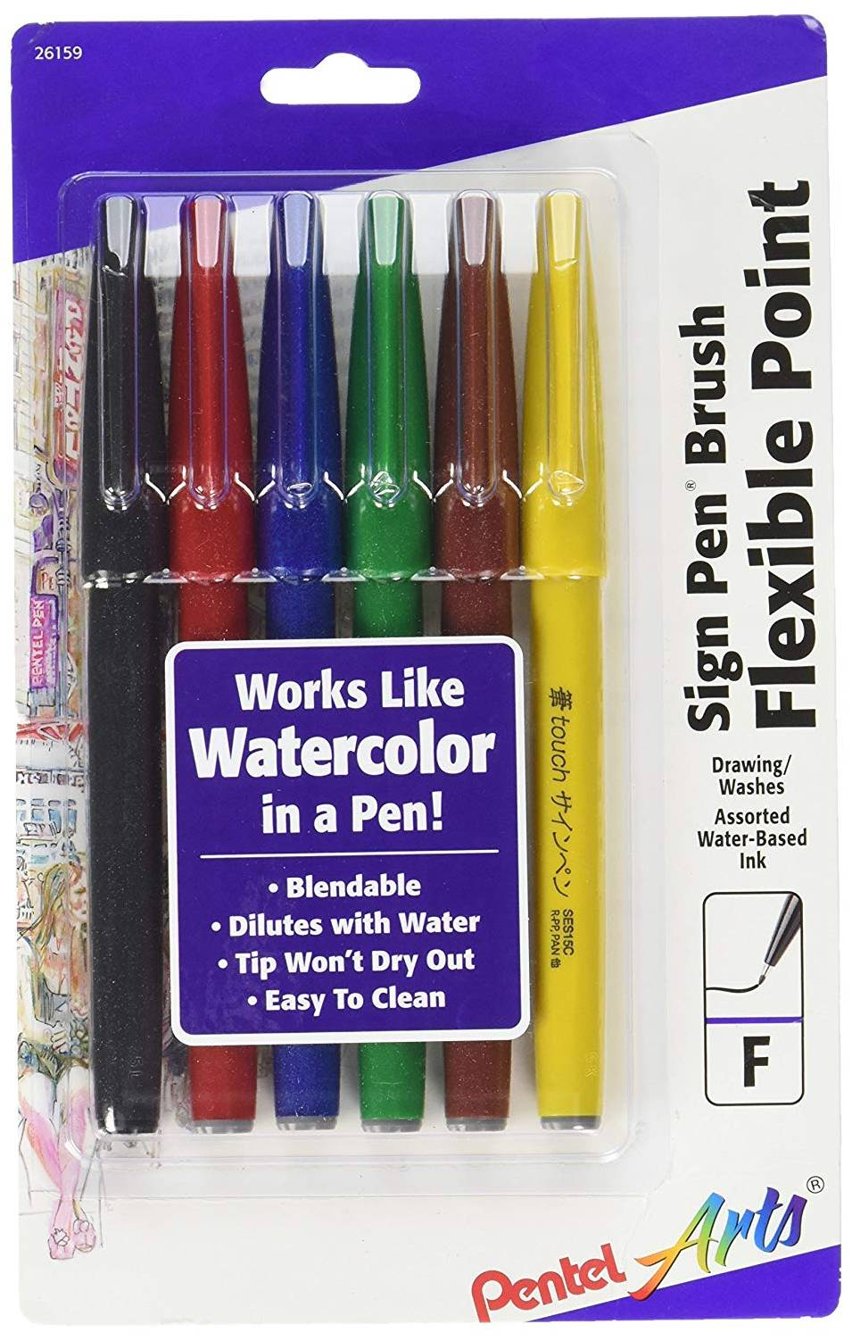 Pentel SES15CBP6M, SES15CBP6M1 Arts Sign Pen Touch, Fude Brush Tip, 6 Assorted Colors
