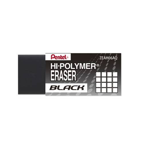 Pentel ZEAH06A Hi-Polymer Block Eraser, Small, Black, Bundle of 6 Erasers