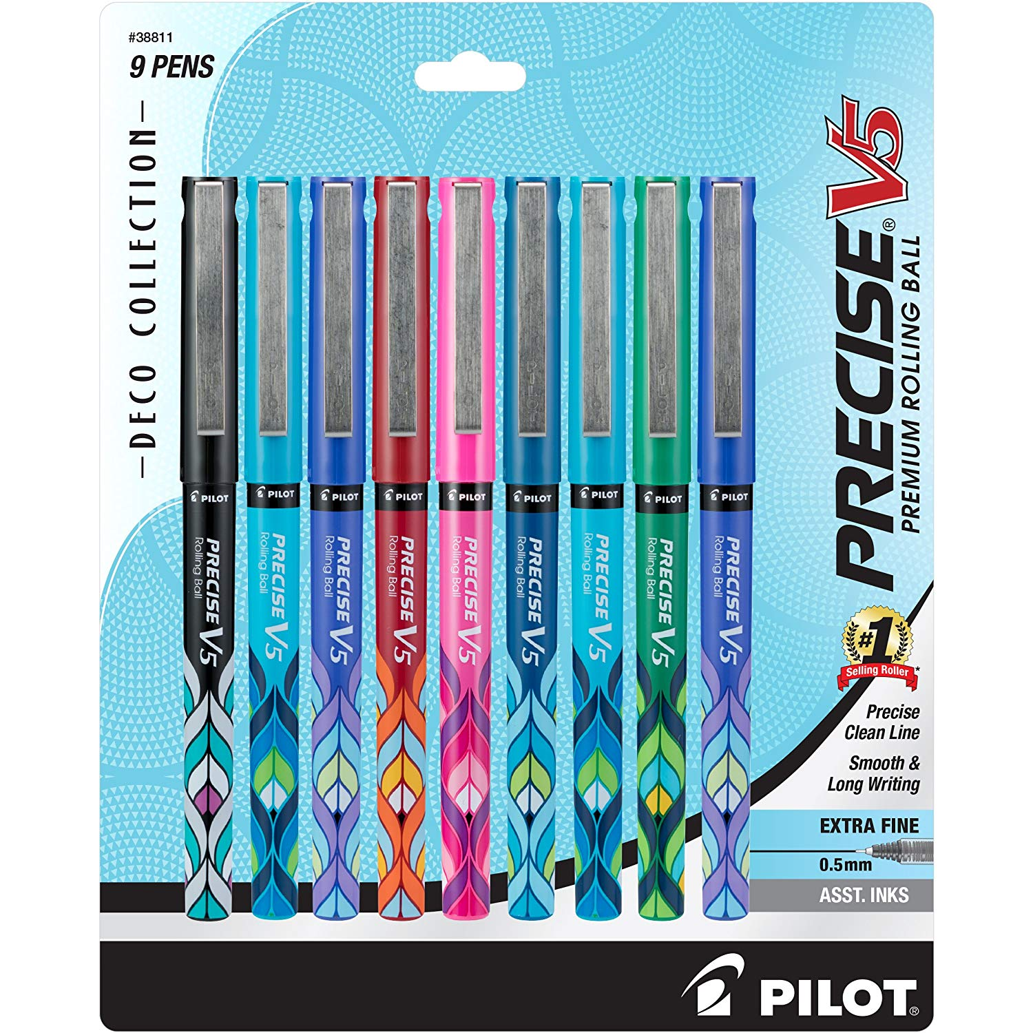 Pilot 38811 Precise V5 Deco Collection Rolling Ball Pens, 0.5mm Extra Fine Point, 9-Pack Assorted Colors