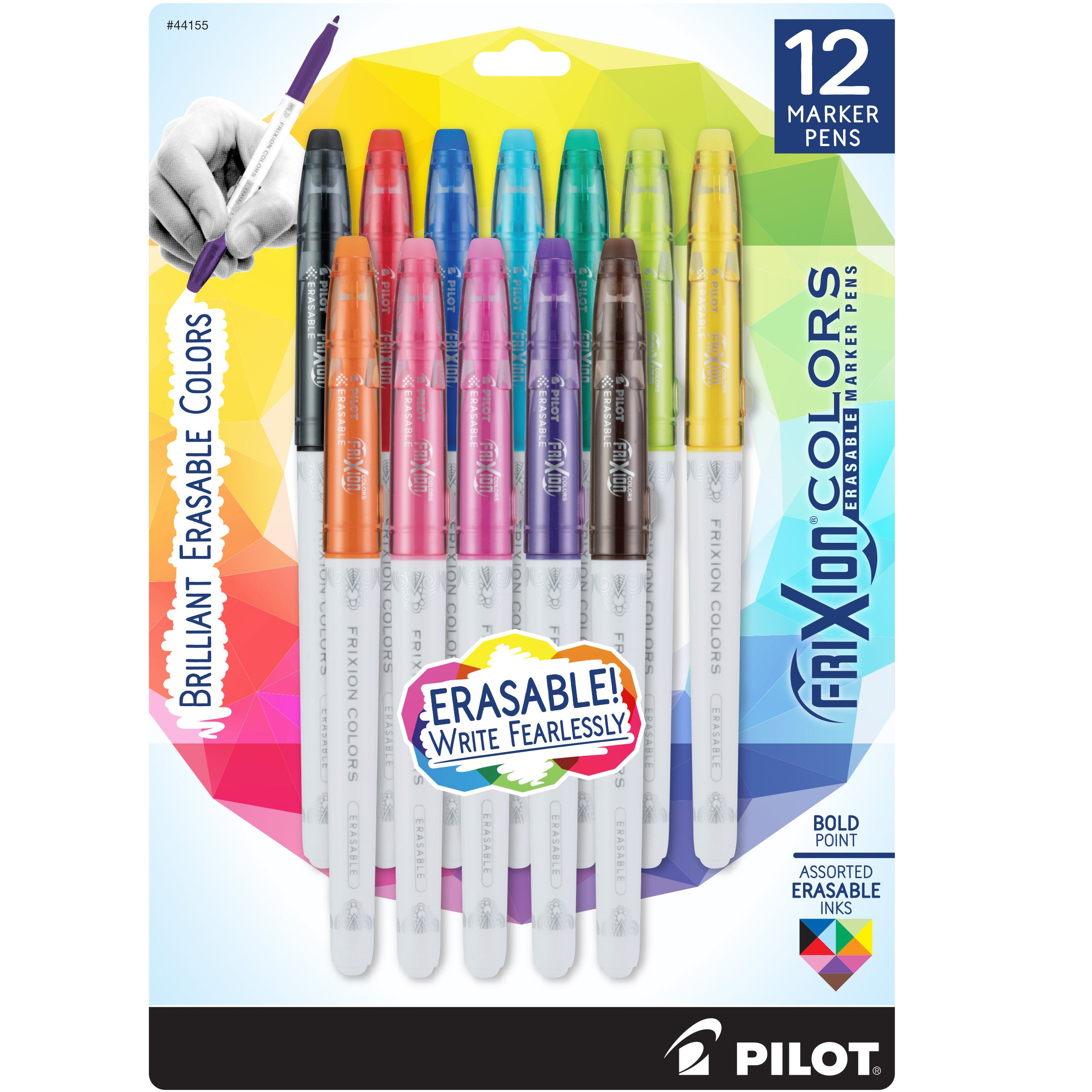 Pilot 44155 FriXion Erasable Color Marker Pens, Bold Point, 12-Pack, Assorted Colors