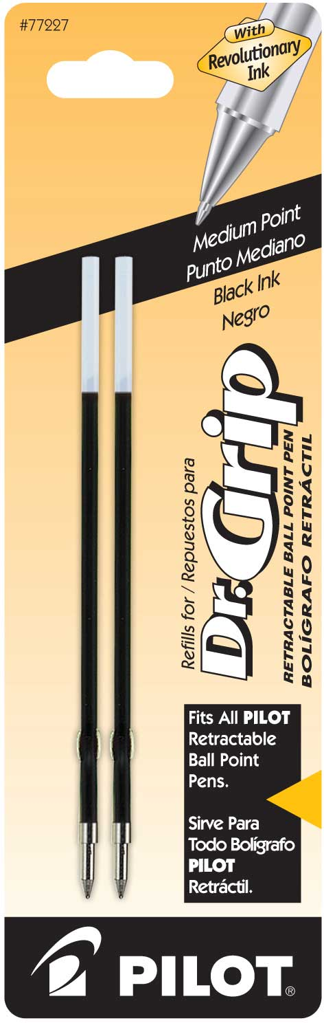 Pilot 77227, 77228, 77229 Pilot Better/EasyTouch/Dr Grip Retractable Ballpoint Pen Refills, Medium Point, 2-Pack, Box of 6 Packs for 12 Refills