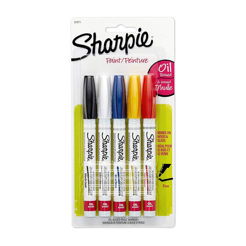 Sharpie 37371PP Oil-Based Fine Point Paint Marker, Assorted Colors, 5-Pack