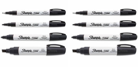 Sharpie Oil Based Paint Markers Black, 2 Sets of All 4 Sizes