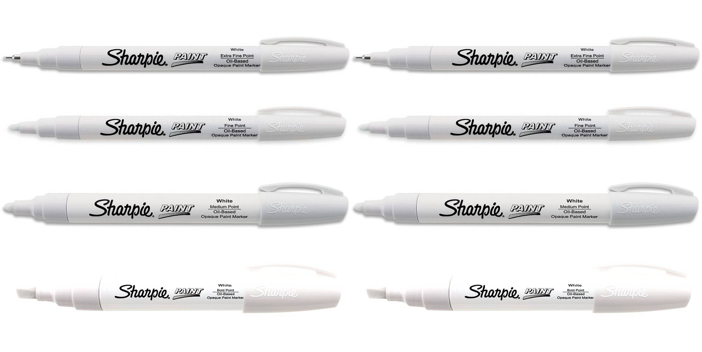 Sharpie Oil Based Paint Markers White, 2 Sets of All 4 Sizes