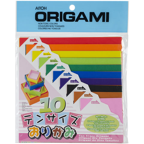 Aitoh TS200 10 Color in 10 Sizes of Origami Paper, Bundle of 6 Packs