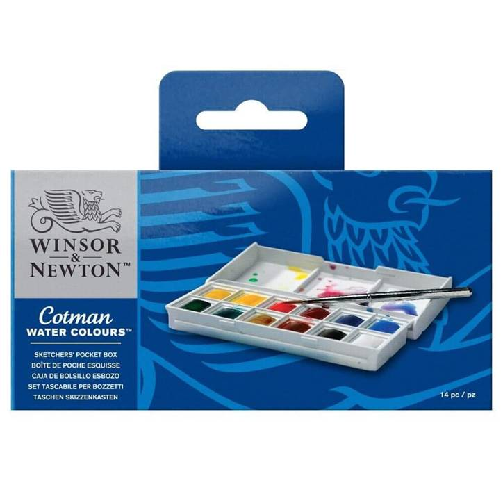 Winsor & Newton 390640 Cotman Watercolor Paint Sketchers' Pocket Box, Half Pans, 14-Pieces