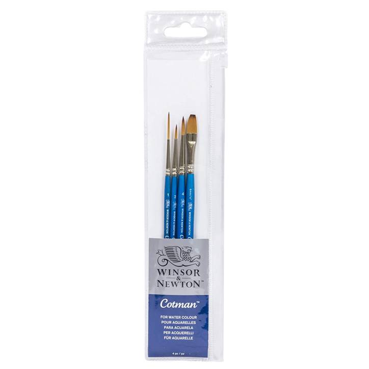 "Winsor & Newton 5390601 Cotman Short Handle Brush (4 Pack) (Round 2 & 4, Rigger 1, One Stroke 1/4"")"