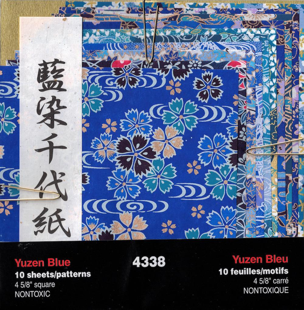 "Yasutomo 4338 Fold'EMS Authentic Yuzen Blue Origami Paper, 4-5/8"" Square, 10 Patterns, 10 Sheets"