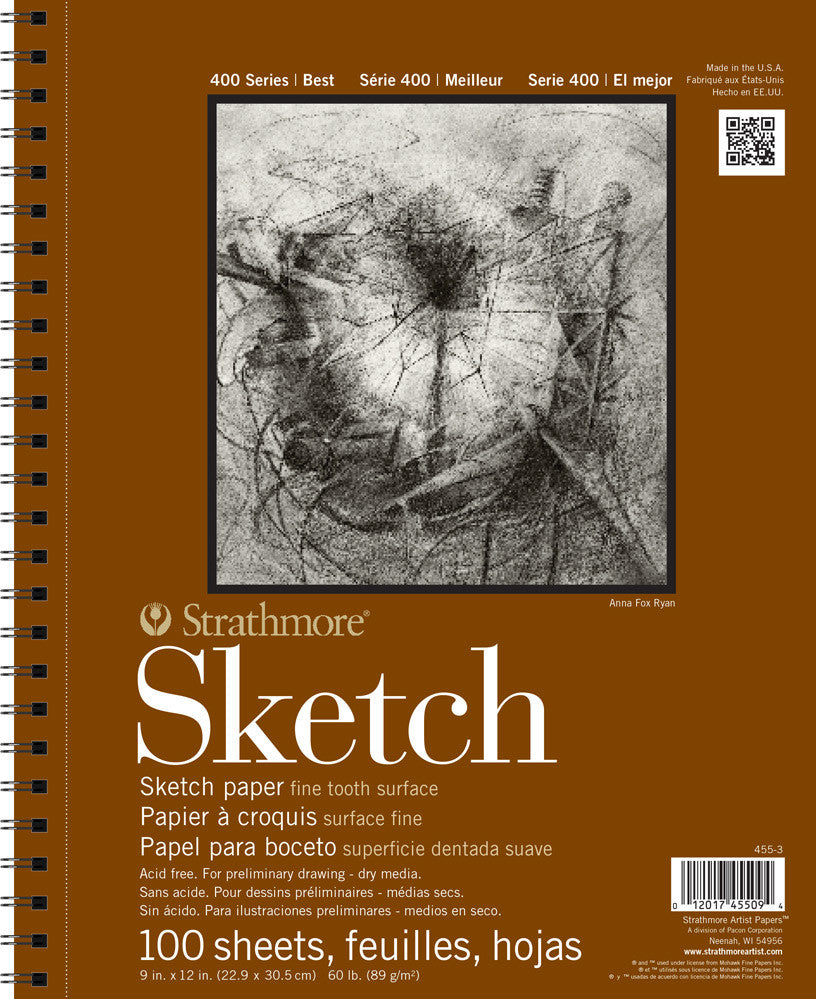 Strathmore 455-3 Series 400 Sketch Pads 9 in. x 12 in. Pad of 100, Box of 12 Pads