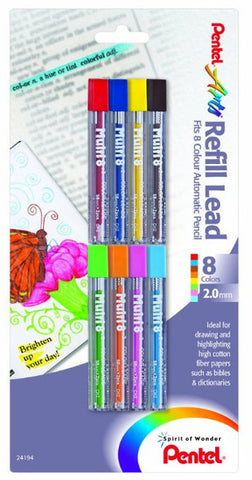 Pentel CH2BP8M Arts 8 Colour Refill Leads, Assorted Colors, 8 Pack