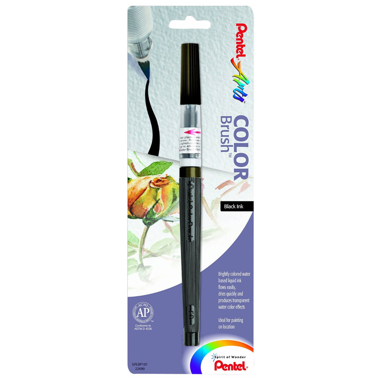 Pentel GFLBP101 Arts Color Brush Pen, Black