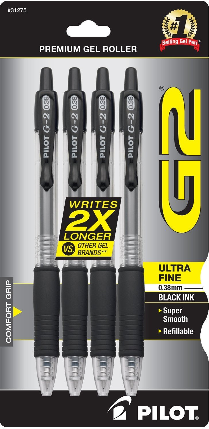 Pilot 31275 G2 Retractable Premium Gel Ink Roller Ball Pens, Ultra Fine Point, 4-Pack, Black Ink