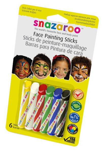 Snazaroo Face Painting Sticks 6-Pack Green/White/Red/Yellow/Blue/Black (1160600)